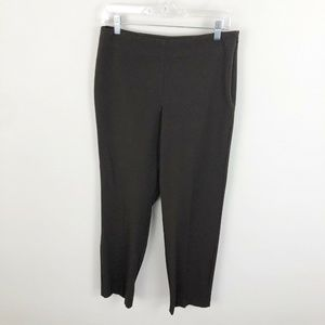 Talbots Classic Side Zip Pants Brown Ankle Stretch